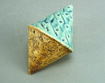 Turquoise And Rust  ,Ceramic Sculpture , Double Cone , Sculptural Elements , Minimalist Decor