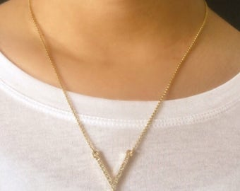 Chevron V Crystal Necklace