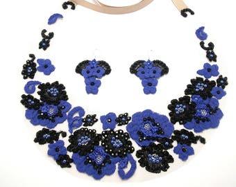 Boho wedding jewelry set  Blue bib necklace and earrings   Bridesmade jewelry blue  Woman blue necklace and earrings  Flower jewelry set