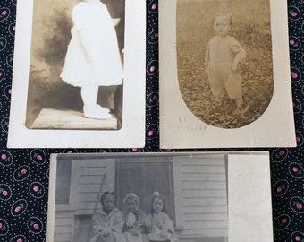 Children Babies Sepia Black & White Photograph Lot Real Photo Postcard RPPC 1900-1910