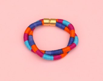 Colorful Twisted Rope Bracelet For Women, Textile Statement Bracelet For Her