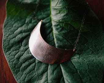 Large bronze moon necklace