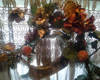 THanKs GiVinG Canoe Bounty FruitFuLL n Feathers UniQue YeAR Round wall mirror home Decor CUSTOM example made to Order