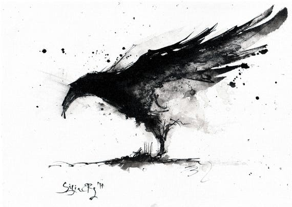 Crow painting Ink on 8...