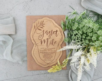 Botanical wedding invitation. Gold Wedding invite. Laser engraved wood wedding invitation. 10 pack