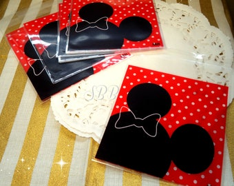 Pretty Red Black Cute Mouse 10 Adhesive Cello Bags for Gift, Party, Cookies, Candy, Snail Mail, Packing, Pastrys, Diy, Party, Scrapbooking.