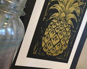 Original Pineapple Series Prints - Metallic Gold Linocut Print, Linoleum Block Print