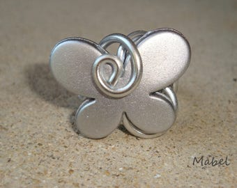 Ring silver gray butterfly and aluminum silver wire, adjustable, wedding