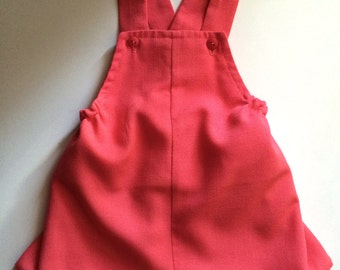 Vintage Baby Girl's 70s Jumper, Overalls, Shorts, Coral (3-6 mos)