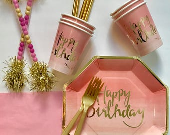 Pink Ombre Party, Pink and Gold Birthday, Pink and Gold Party
