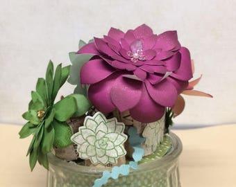 Succulent Paper Flowers vase