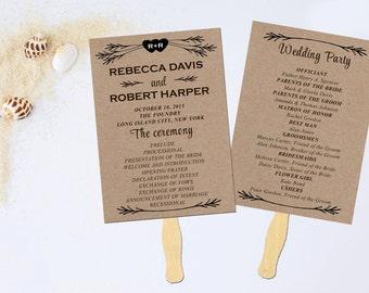Wedding program fan, Wedding fan program, Wedding program printable, Wedding programs, Wedding programs rustic, Wedding Program rustic