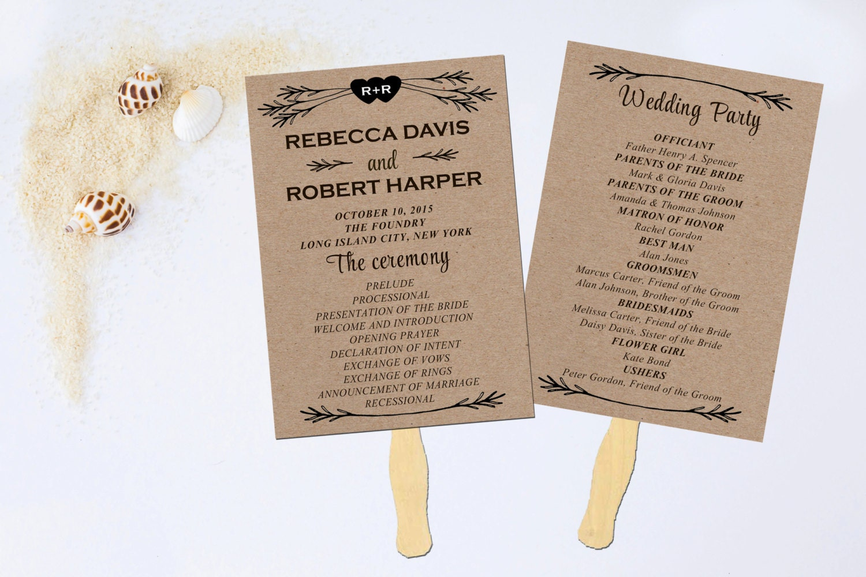 Wedding Program Fan Wedding Fan Program Wedding Program - Wedding fan program template