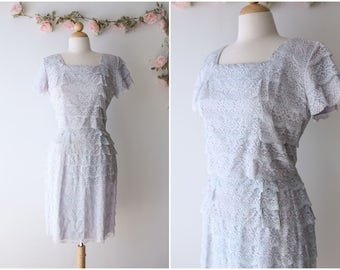 Pastel Layered Lace Dress - Vintage 1960's Light Blue Wiggle Dress with Tiered Lace - Romantic Dress - Size Large
