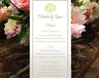 "Dandelion Menu, Allium Menu, Natural Menu, Garden Menu for your Wedding or Special Event - finished size 4.25"" x 9"""