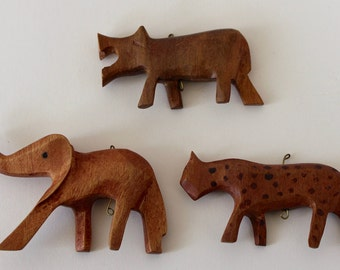 Wooden Zoo Animals - Carved Wood 3D Animals - Wooden Elephant - Wood Leopard - 3D Hippopotamus - Assemblage Art Mixed Media Supplies