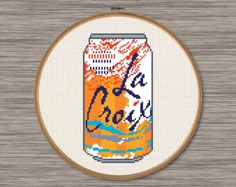 La Croix Apricot Soda Can - PDF Cross Stitch Pattern
