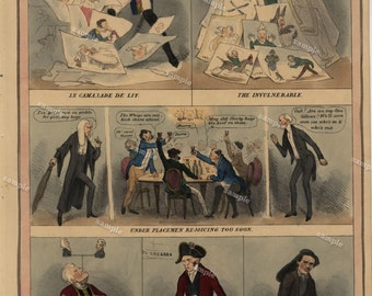 McLean's Monthly Sheet of Caricatures Full Original hand colored sheet dates 1831 Political Cartoons Very Rare