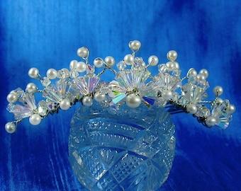 Bridal Comb, Swarovski Crystal w Freshwater Pearls  Bridal Comb, Tiara Comb, AB Crystal Comb, Downton Abbey Comb