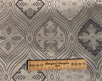 Vintage Gold Black Brocade Fabric, Home Decoration Upholstery Drapery Curtain Pillow Tote Fabric Material, 2 yards