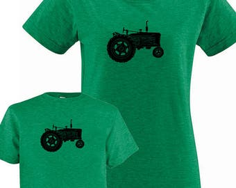Matching Mother Tractor Shirts - Mommy and Me Matching Shirts, Tshirt Set T shirt gift, mom child, mom shirt, mother son, boy Mothers Day