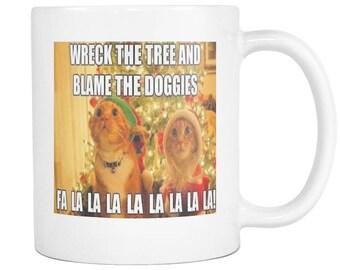 Christmas cat meme blame game on 11 ounce coffee mug