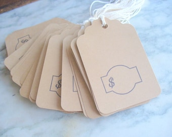 Khaki Hang Tags, Dollar Sign Tags, Hand Stamped, Large Price Tags, Craft Supply Tags, Destach Supplies, Money Hang Tags, 30 Tags