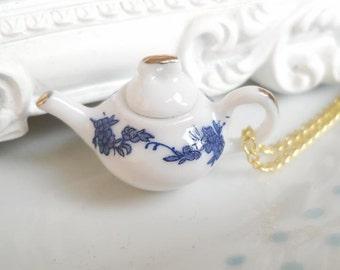 Blue Floral Teapot Tea 3D Charm Necklace Alice in Wonderland, Tea Party, Flower, Tea Pot