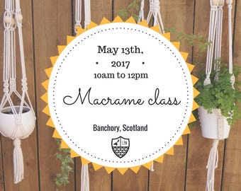 Sat, May 13th 2017 - Macrame Class: Create a Plant Hanger - Banchory, Scotland - 10am to 12pm