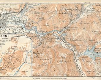 1897 Pesaro Italy Antique Map