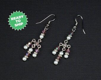 Imogene Earrings, purple crystal earrings, silver knot earrings, Celtic knot earrings, Renaissance jewelry, dangle earrings (1078je)