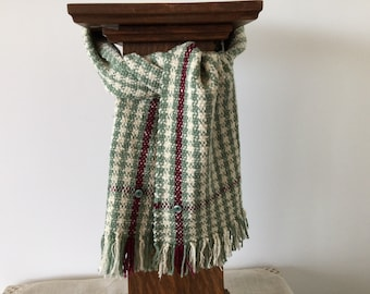 Hand woven houndstooth scarf in green, cream and burgundy