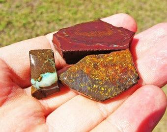 Opal boulder yowah ref3100/3101/3102 - undrilled - x 3