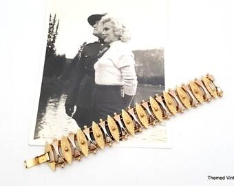 Sarah Coventry Egyptian Temptress gold tone bracelet mid century modern design