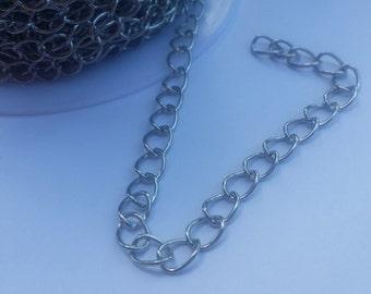Iron Side Twist Chain - 1 yard - 8mm x 6mm Chain - Silver Chain - Platinum Chain - Lead Free Chain - Nickel Free Chain