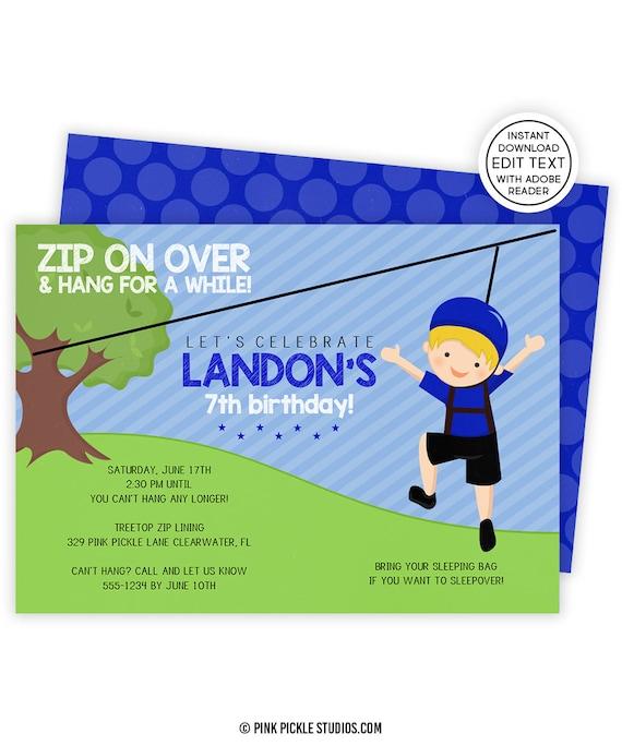 Zip line invitation zip line party zipline birthday stopboris Gallery