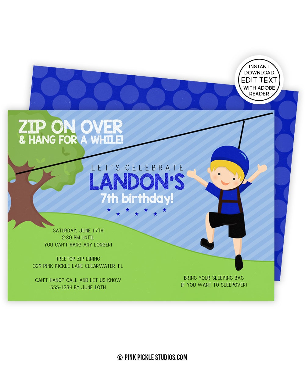 Zip Line Invitation Party Zipline Birthday