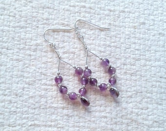 Amethyst, Sterling Silver and Sterling Silver-Filled Wire-Wrapped Handmade Earrings                                  04/18