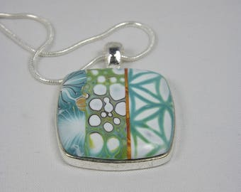 Square polymer clay pendant