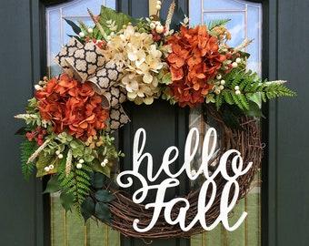 Hello Fall Wreath ~ Fall Front Door Wreath ~ Fall Hydrangea Wreath ~ Fall Colors Wreath ~ Orange & Cream Hydrangea Wreath ~ Autumn Wreath