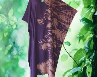 Simple Bleached Tie dye Wearable Art Casual Kaftan Dress