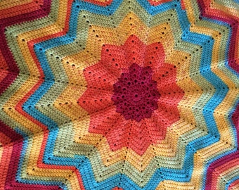 Rainbow sprinkles 12 point star crochet blanket