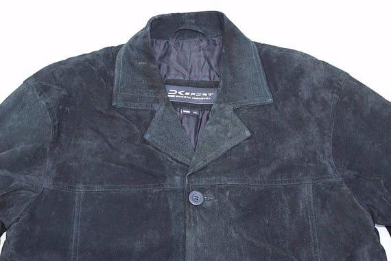Length Coat Men's Real XL Black Leather Size Jacket DAKOTA Button 100 Suede Hip Vintage aqfqz