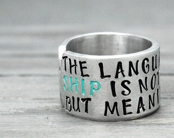 Friendship Ring, Quote Ring, Custom Stamped Ring, Personal Gift Idea, Personalized Ring, Encouragement Ring,