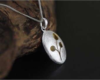 Pendant flower pattern, brushed 925 sterling silver and vermeil pendant without chain