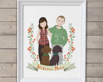 Custom family portrait illustration.