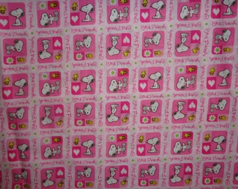 Pink Snoopy/Woodstock My Best Friend Cotton Fabric By The Half Yard