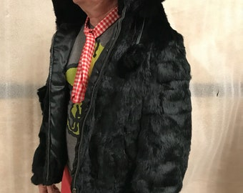 Black rabbit fur coat woman size extra large , man size medium .