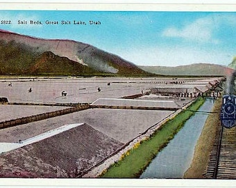 Vintage Utah Postcard - Salt Beds on the Shore of the Great Salt Lake (Unused)