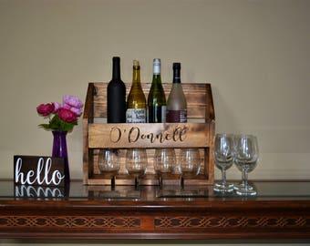 Wine Rack / Engraved Wine Rack / Custom Wine Rack / Wine Glass Holder / Rustic Wine Rack / Personalized Wall Mounted Wine Rack. Wedding Gift